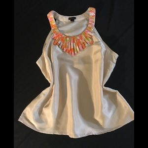 J Crew silk sleeveless blouse with 70's retro vibe